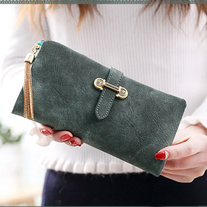 Creative Girl's Dull Polish Leather Multi-function Purse Clutch Bag  Long Wallet
