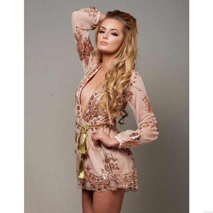 Sexy Glitter Sequin Flower Rose Gold V Neck Long Sleeve Short Dress