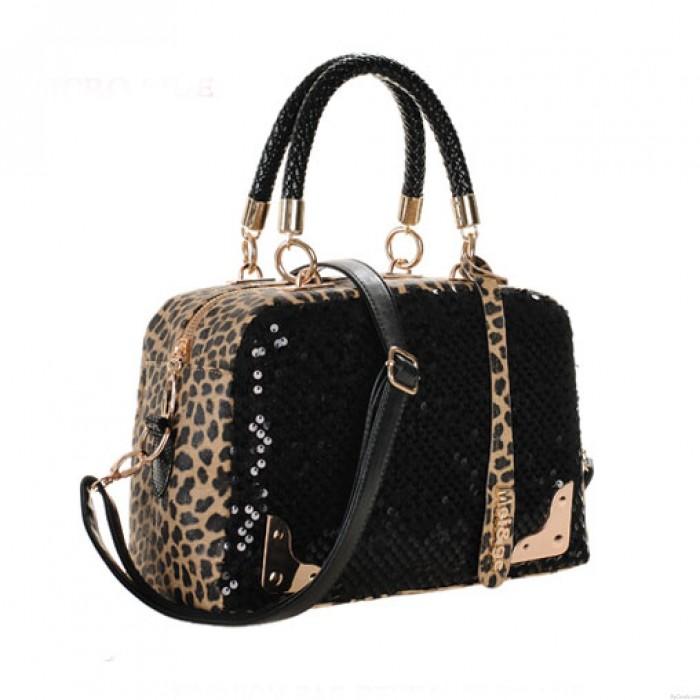 Elegant Fashion Leopard Sequins Handbag & Shoulder Bag