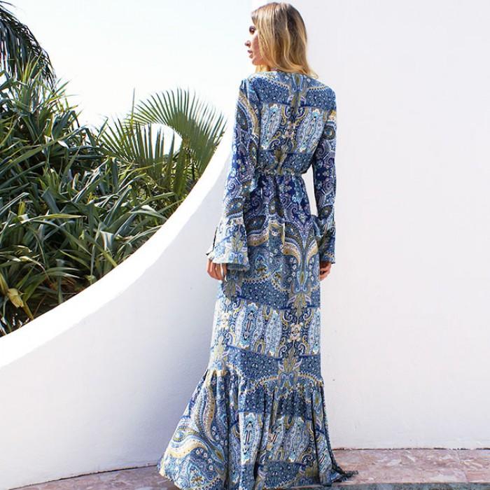 Bohemian Printing Sun Block Blouson Full-length Dress With Belt