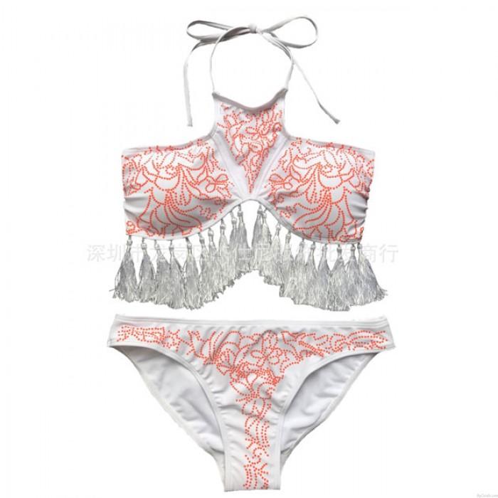 Tassel Bikini  Bandage Halter Swimsuit Leaves Printed Summer Bathingsuit