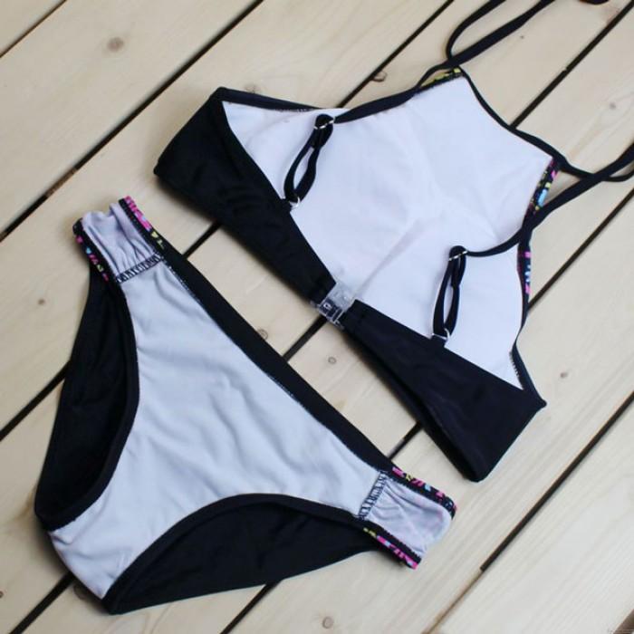 Abstract Owl Print Bikini Split Swimsuit
