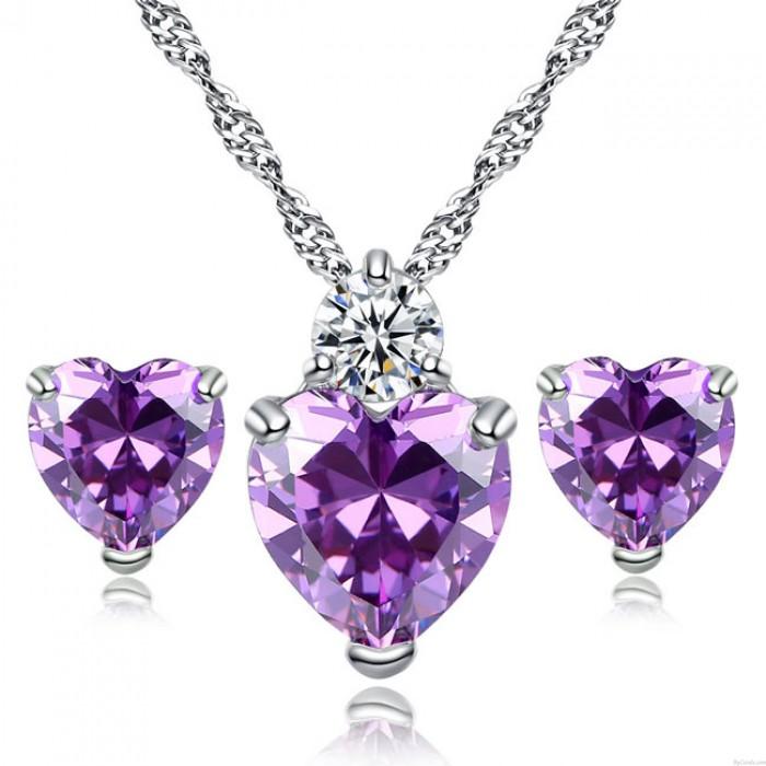Shining Sincere Love Heart Crystal Zircon Necklace Earring Studs Set