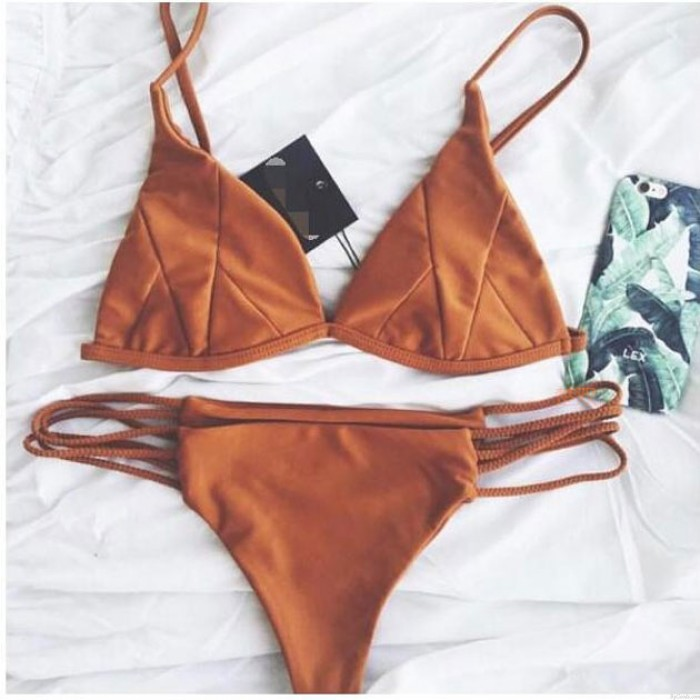 Sexy Brown Patch Split Bikini Bandage Swimsuit