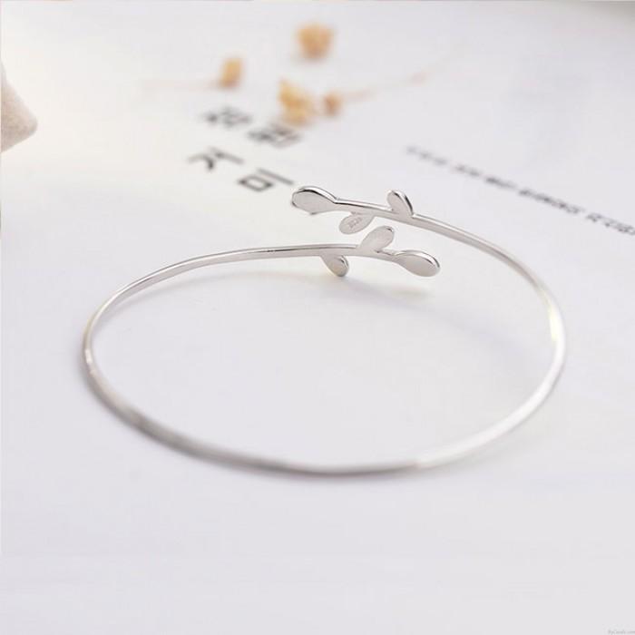 Fresh Leaves Girlfriend Gift Leaf Women Open Bracelet Silver Bracelet