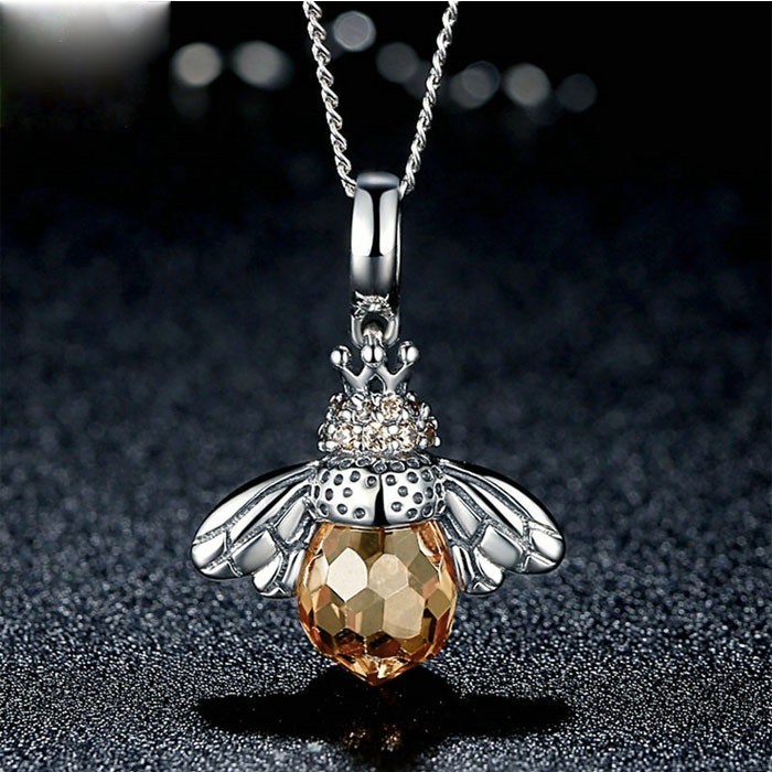 Unique Crystal Bee Pendant Animal Necklace Silver Women Necklace