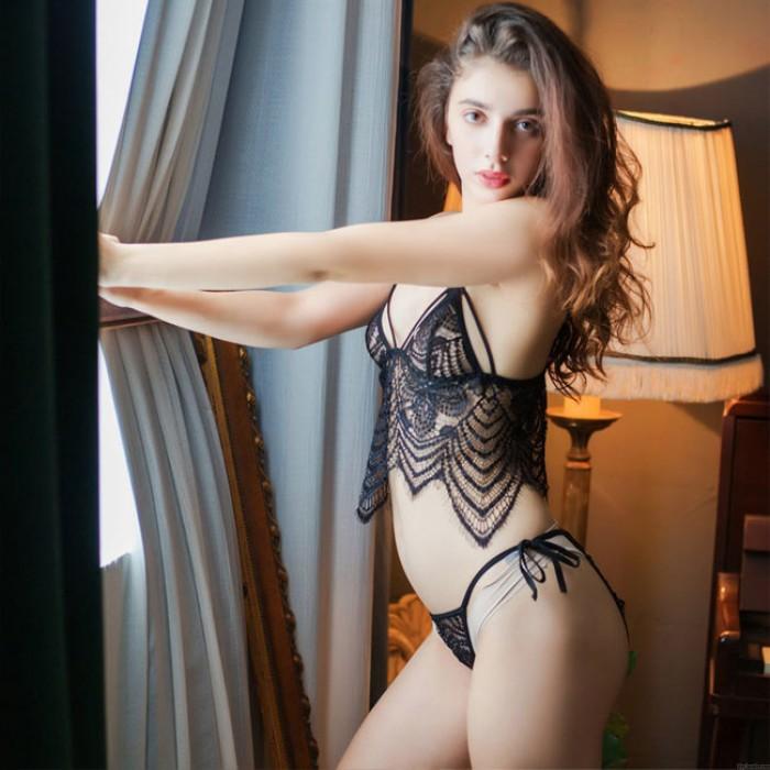 Sexy Leaves Tassel Black Lace Bra Panty 2 Piece Set Underwear Women Intimate Lingerie