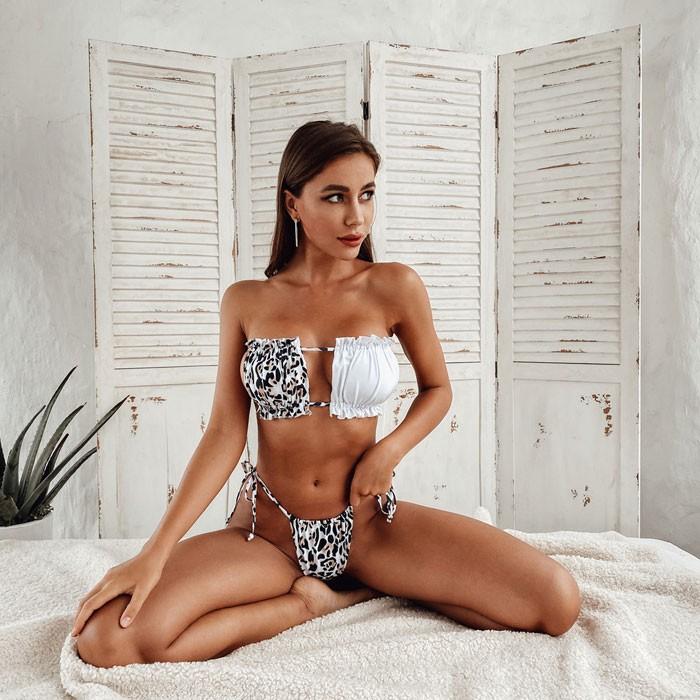 Sexy Irregular Leopard Splicing Pleated Hollow Summer Swimsuit Bikinis
