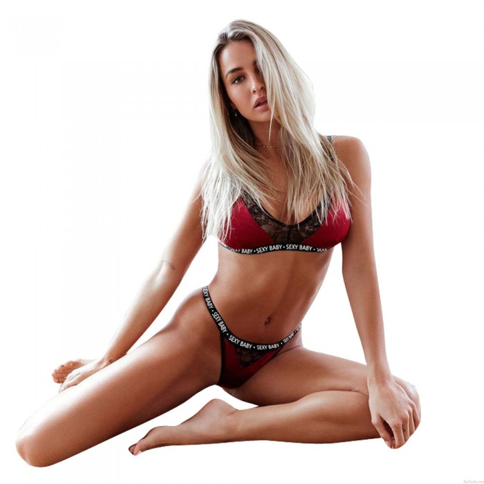 Sexy Sexy Baby Letter Hollow Wine Red Lace Intimate Women Lingerie