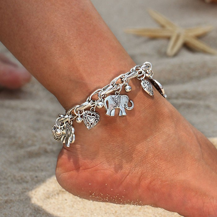 Vintage Elephant Bracelet Love Heart Clavicle Chain Peach Heart Personality Chain Anklet