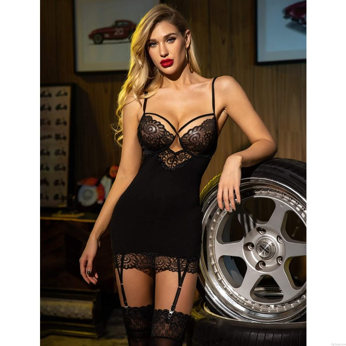 Sexy Flower Bra Bodysuit With Garter Belt Lace Babydoll Lingerie For Lady Intimate Chemise Lingerie
