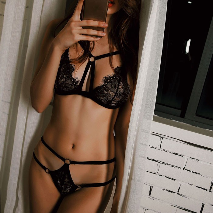 Sexy Unique Design Lace Bra Panty 2 Piece Set Temptation Underwear Women's Lingerie