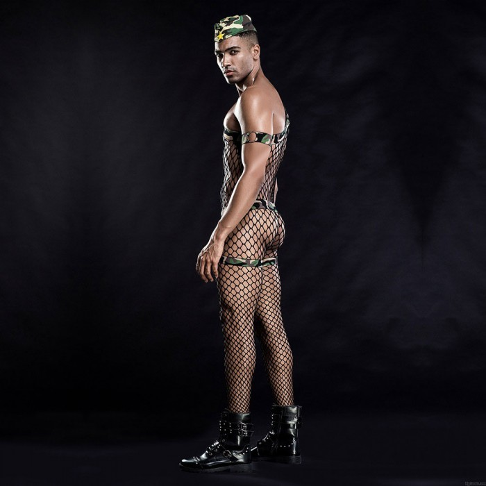 Sexy Hollow Out Fishnet Bodysuit Cosplay Outfits Bodystocking Men's Camouflage Leotard Lingerie