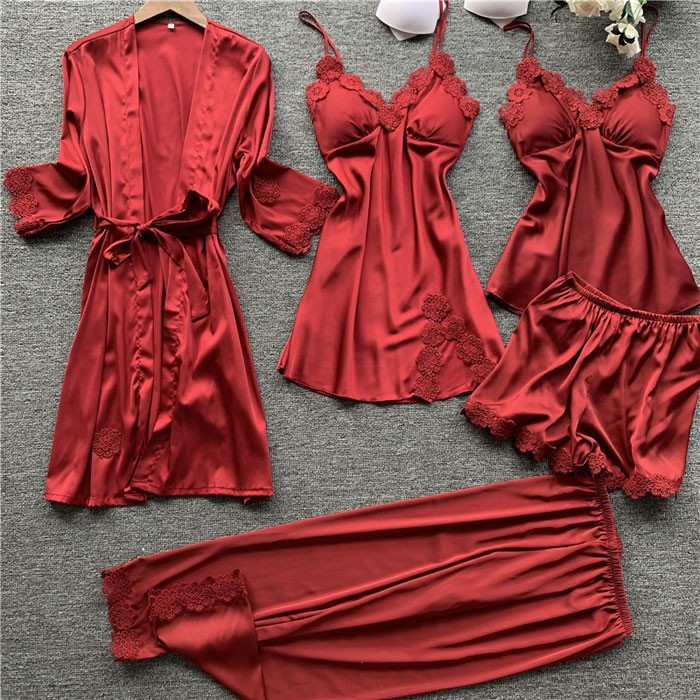 Sexy Silk Sling Nightgown Chemise Five-Piece Suit Ladies Nightgown Lace Spring Autumn Thin Shorts Female Pajamas