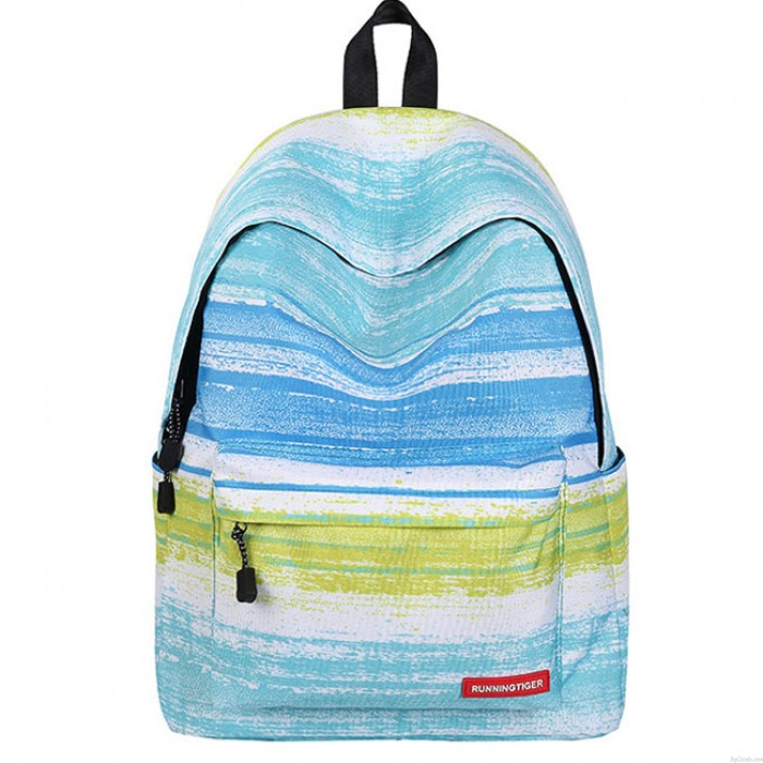 New Blue Striped Gradient Color Large Capacity Starry Sky Rhombus Galaxy Canvas School Backpack