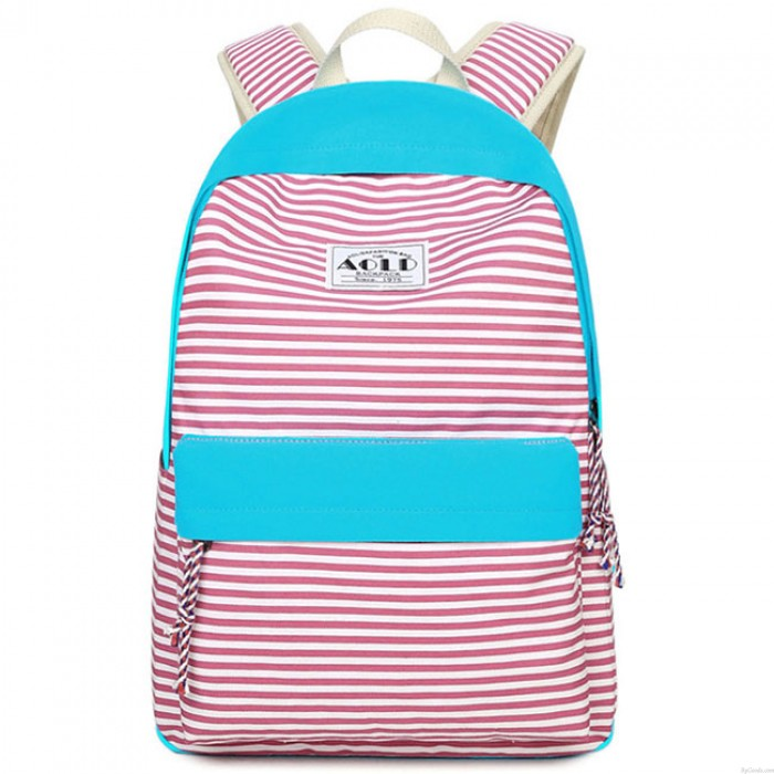 Fashion Stripes Designed Student Bag Leisure Travel Striped Canvas Girl's School Backpack