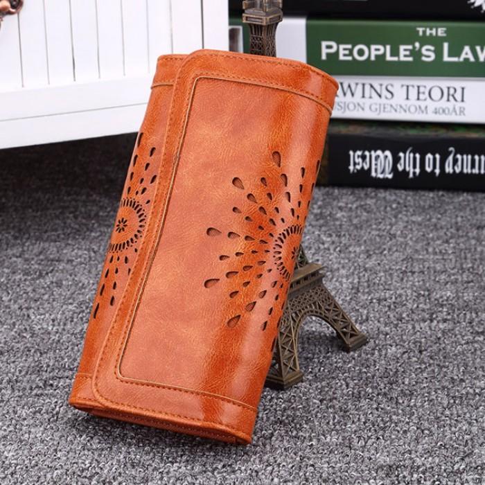 Fashion Hollow-out Flower Tri-fold Ladies Long Wallet Purse Clutch Bag