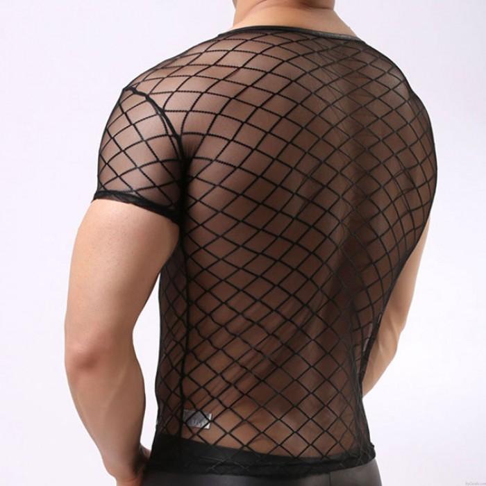 Sexy Black Ultra-thin Mesh Transparent Short Sleeve Net Man Lingerie