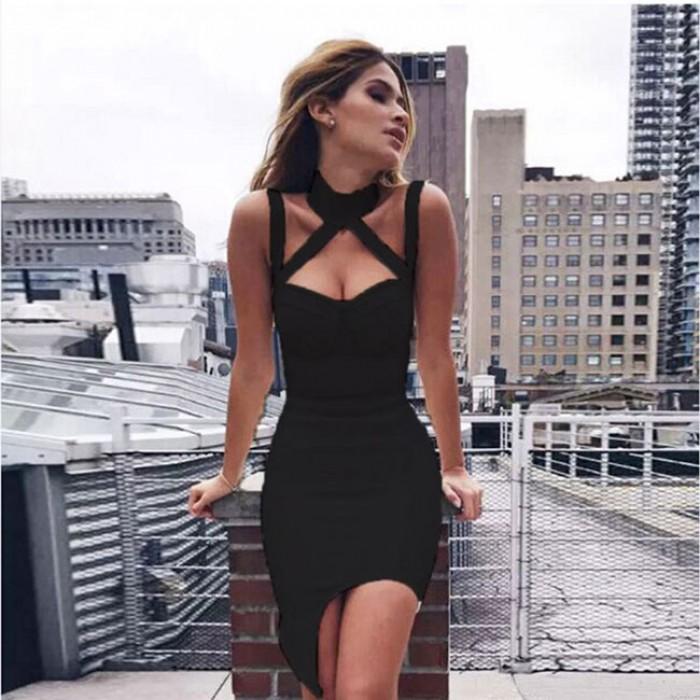 Fashion Strap Strapless Halter Neckless Sleeveless Tight-fitting Nightclub Sexy Dress
