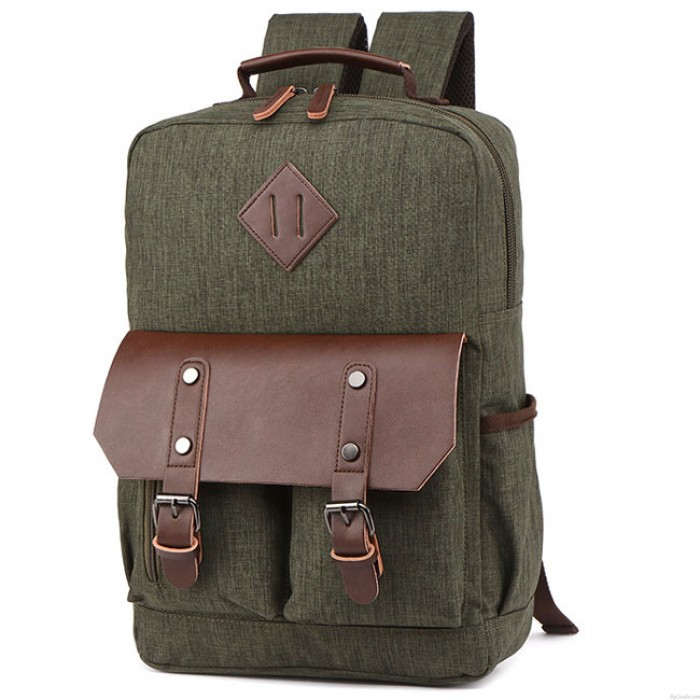 Retro Leather Flap Large School Laptop Bag Splicing PU Two Pockets Waterproof Travel Canvas Backpack