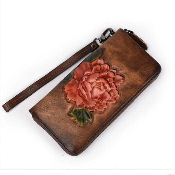 Retro Rose Long Wallet Lady Original Phone Purse 3D Red Flower Embossing Clutch Bag