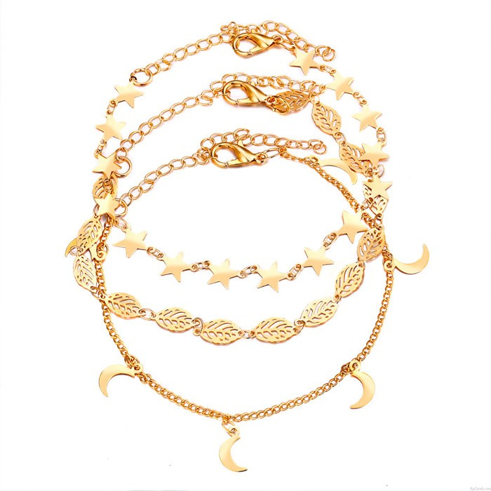 Creative Retro Simple Star Moon Hollow Leaf Anklet Set 3-piece Set Foot Accessory Anklet