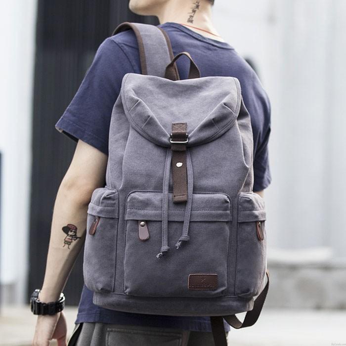 Flap Travel Canvas Backpack With USB Interface Drawstring Large Capacity Camping Rucksack