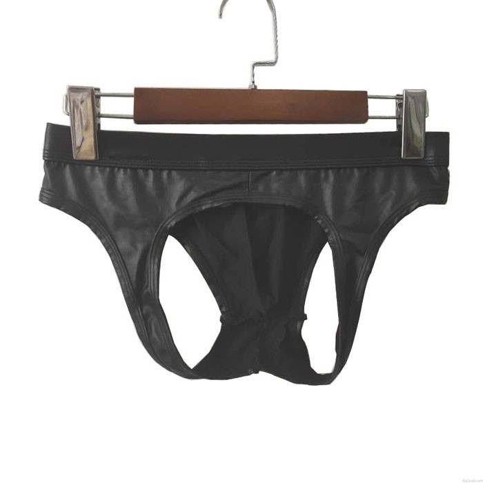 Sexy Black Leather Penis Shape Man Underwear Night Club Hollow Ring Panties Men's Lingerie