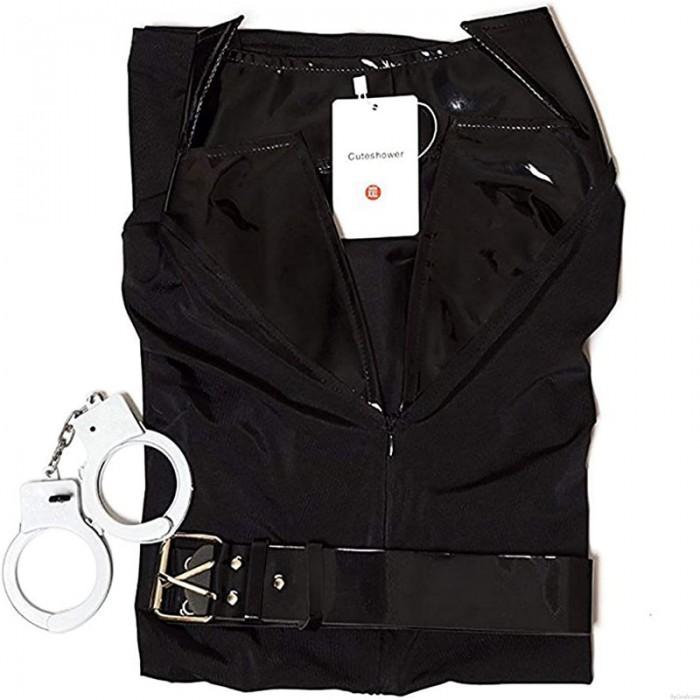 Sexy Police Costume Adult Halloween Cop Cosplay Uniform Dress Lingerie Women's Belt Handcuffs Hat Lingerie