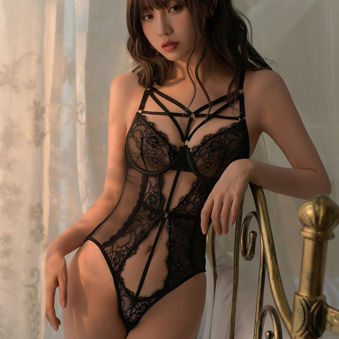 Sexy Deep V Lace Cups Bodysuit Strappy See Through Mesh Mini Teddy One Piece Women's Lingerie