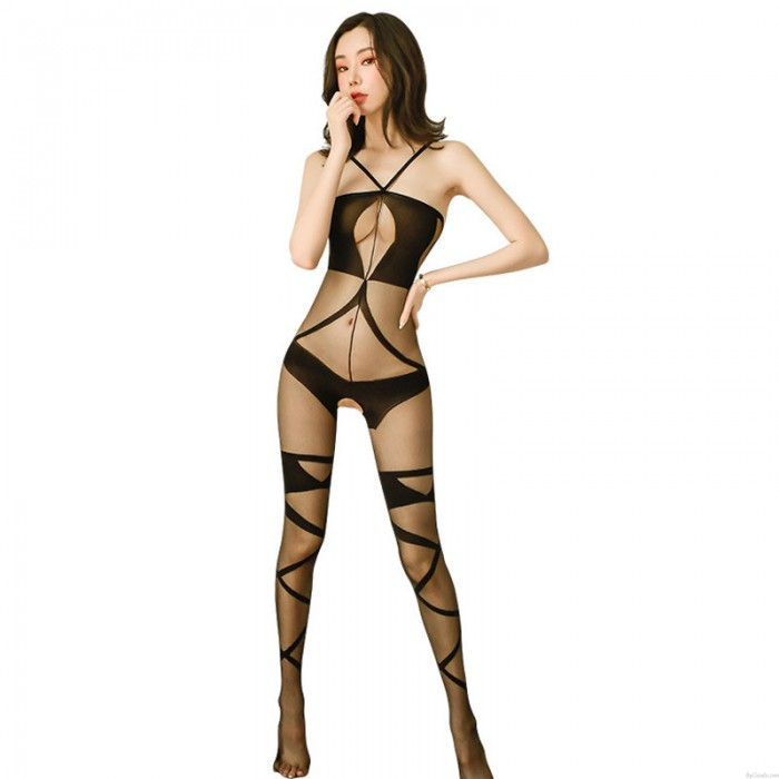 Sexy Sheer Mesh Bodysuit Teddy See Through Bodystocking Crotchless Nightwear Hollow Out Lingerie