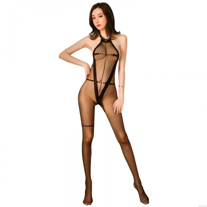 Sexy Halter Sheer Mesh Bodystocking See Through Hollow Out Bodysuit Crotchless One Piece Lingerie