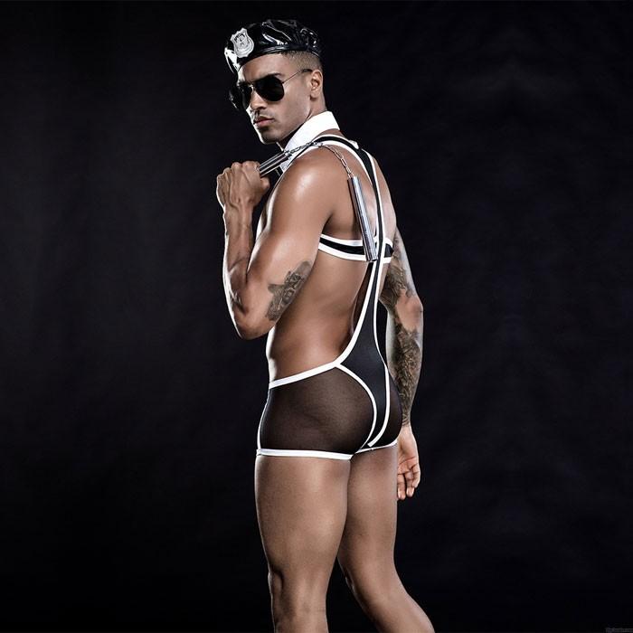 Sexy Uniform Soldier Cosplay Panties Tie Cool Black Nightclub Temptation Men's Lingerie