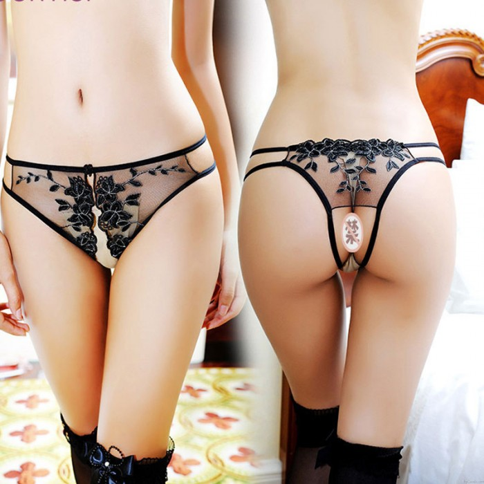 Sexy G-string Thong For Women Underwear Hollow Lace Embroidery Crotchless Flower Mesh Panties Lingerie
