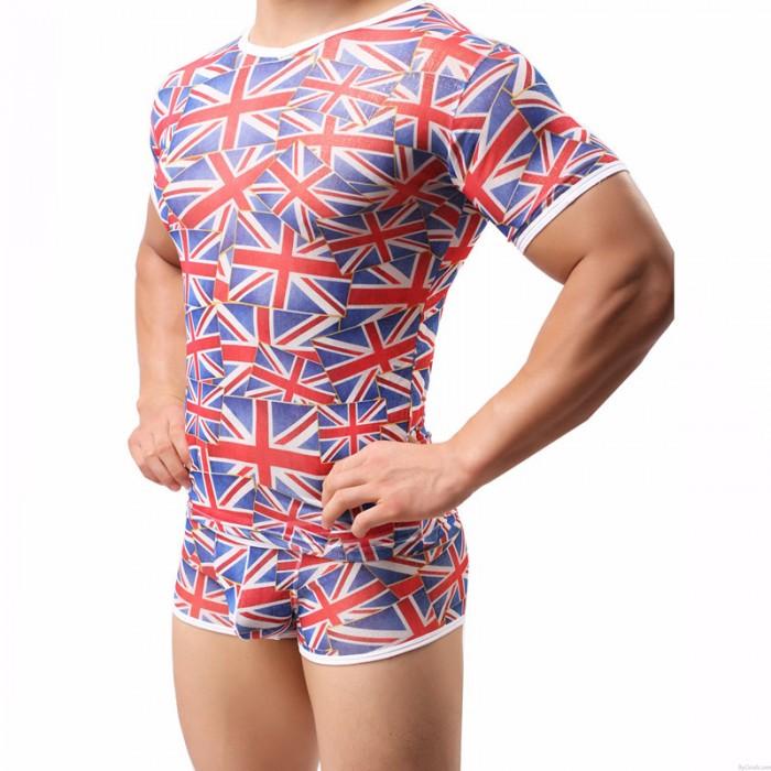Lingerie For Men British Flag Vest Mesh Men's Short-Sleeved T-shirt Tank Top With Short Panty 2 Piece Set Lingerie