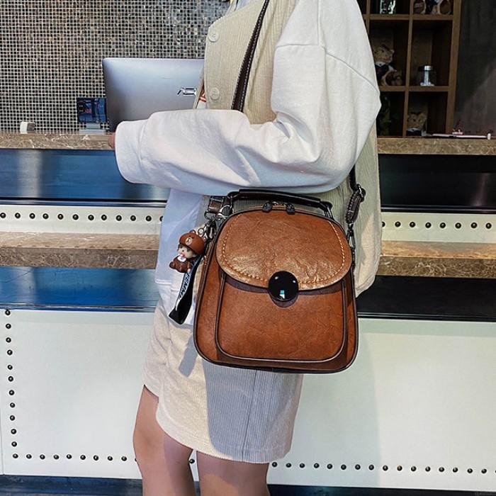 Leisure Brown Crossbody Bags for Women Iron Single Buckle Magic Multifunction Leather Handbag Backpack Shoulder Bag