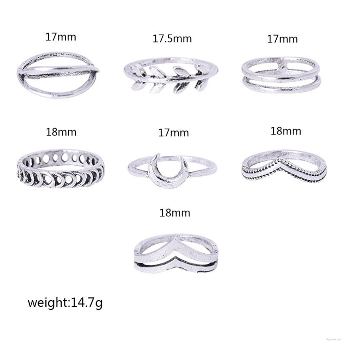 Cute Personalized Moon Cross Little Finger Ring Trendy Retro Leaf 7-piece Set Combination Ring