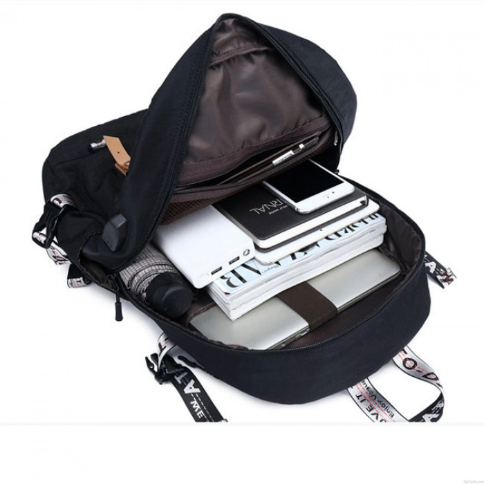 New Student Contrast Stitching Bag USB Large Capacity Computer Backpack Outdoor Backpack