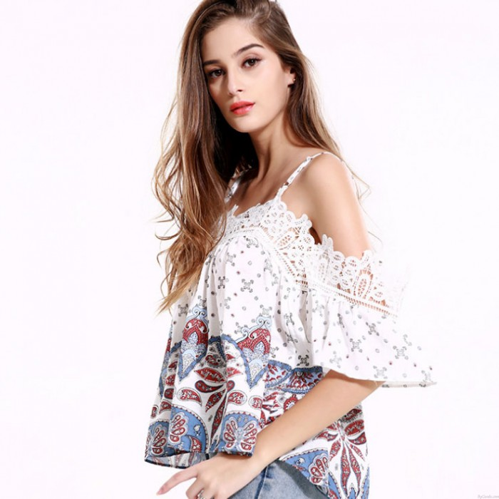 Women Girls Strapless Long Sleeve Slim Blouse Loose Lace Tops