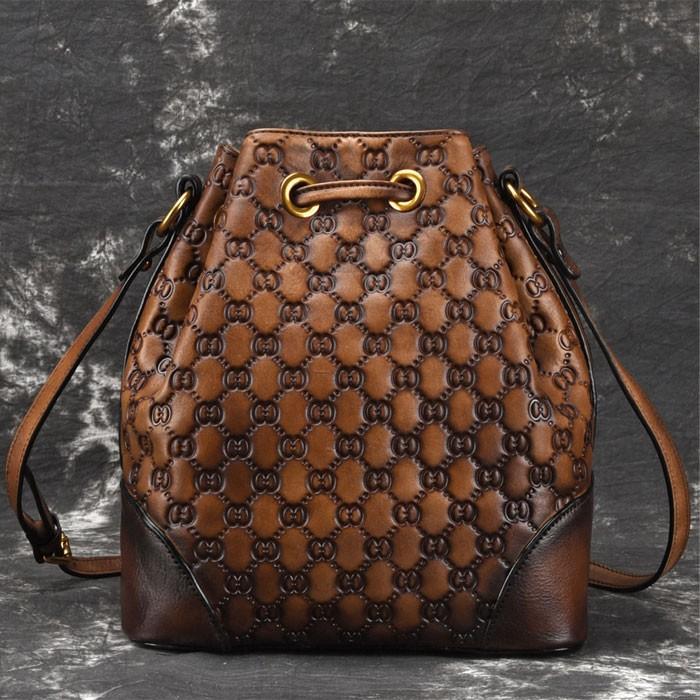 Retro Weave Bucket Bag Cowhide Tassel Draw Rope Original Cross Body Bag Shoulder Bag