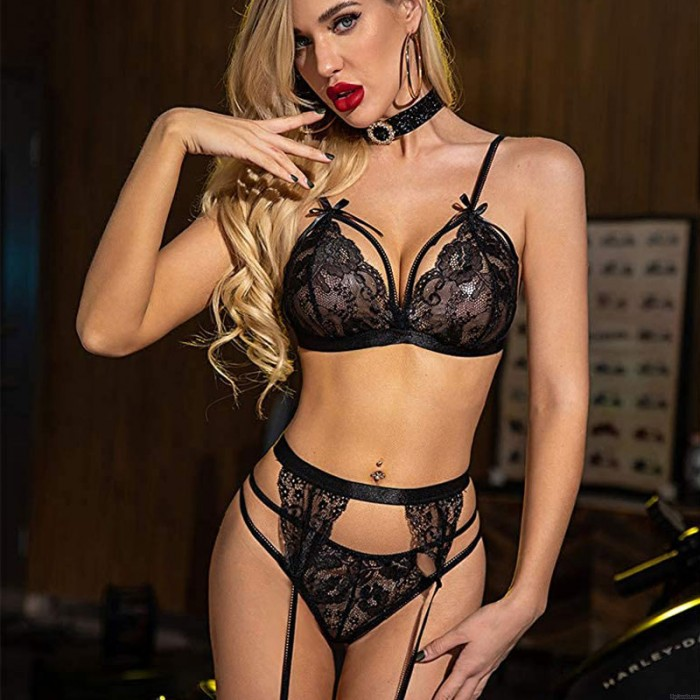 Teddy For Women Lace Bowknot Bra Panty 2 Set With Garter Belt Babydoll Underwear Halter Lingerie