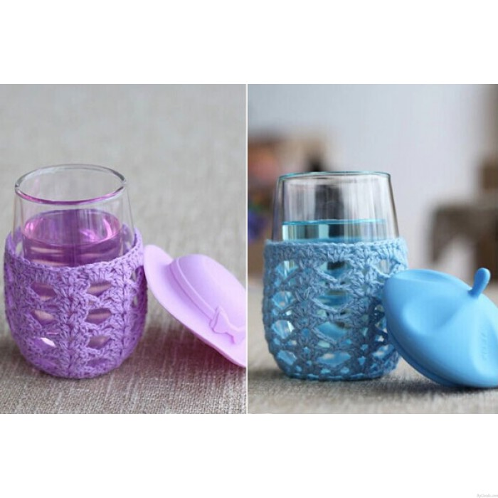 Creative Cute Hat Knitted Outerwear Transparent Glass Cup