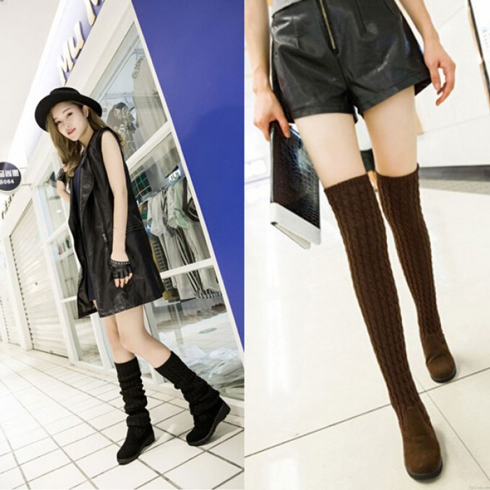 New Fashion Knitted Sweater High Boots