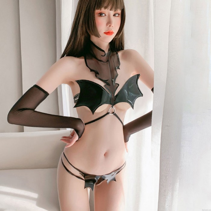 Sexy Batgirl Little Devil Bat Bra Costume PU Leather Cosplay Outfits Strappy Crotchless Underwear Lingerie