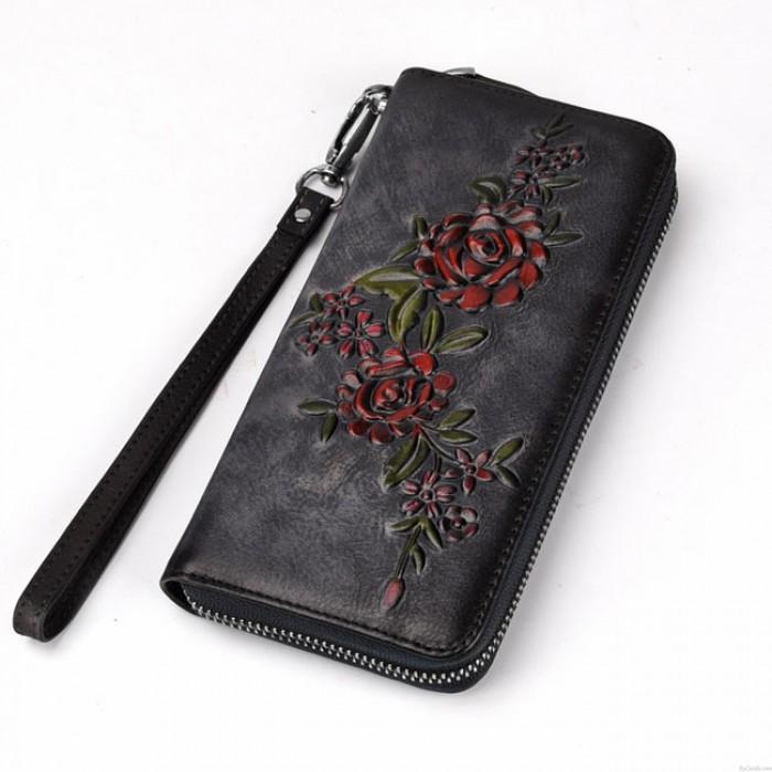 Vintage Original Branch Rose Handmade 3D Flower Embossed Wallet Clutch Bag