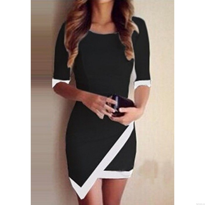 Sexy Hem Mid Sleeve Contrast Color Summer Dresses