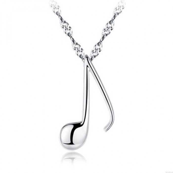 Sweet Music Note Shape Pendant Silver Clavicle Chain Women Necklace