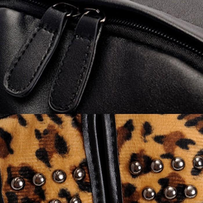 Punk Rivet Leopard Print Backpack