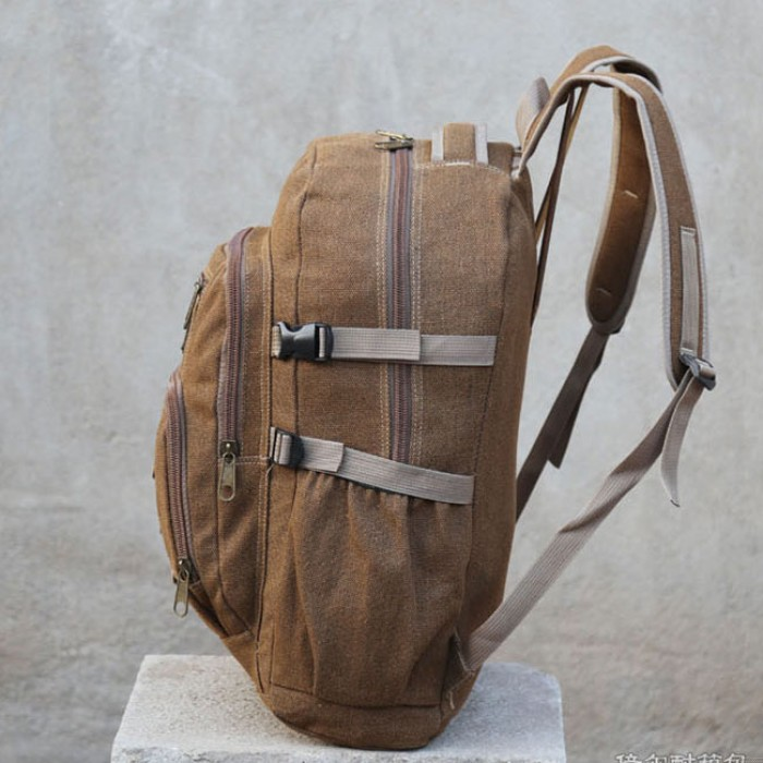 Retro Large Camping Canvas Travel Sport Rucksack 50 Liters Outdoor Climbing Backpack