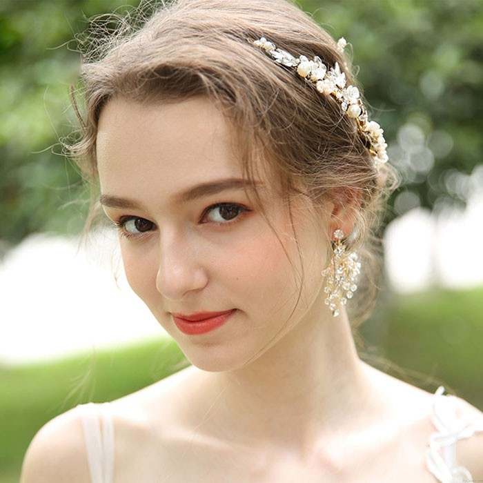Unique Bridal Hairpin Flower Branch Leaves Crystal Pearl Wedding Hair Band Hair Accessories